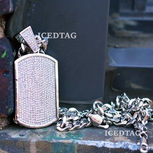 """Other - Iced Out XL Size Dog Tag Pendant, 30"""" Cuban Chain"""